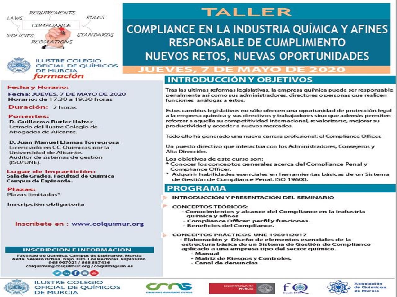 TALLER SOBRE EL COMPLIANCE EN LA INDUSTRIA QUIMICA. COMPLIANCE OFFICER